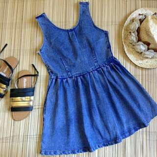 Denim Dress With Pearls And Ribbon