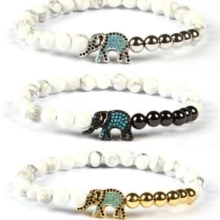 Auspicious Religious Image Elephant Jewelry lot 6mm Natural White Howlite Stone with Micro Pave Animal Lucky Bracelet