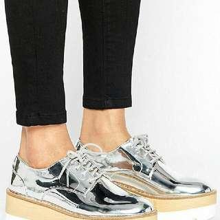 Pull And Bear Metallic Platform Shoes