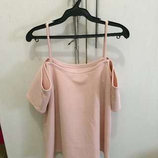never used peek a boo/off shoulder top old rose color