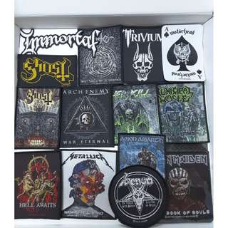 Official Woven Patch Iron Maiden, Metallica, Ghost, Motorhead, Venum, Trivium, Immortal, Nile, Overkill, Municipal Waste, Amon Amarth, Arch Enemy,