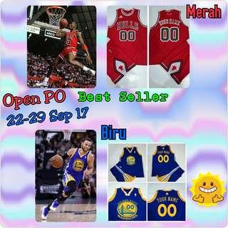 Open PO Jersey Basket Anak2/Dewasa Custom. BULLS Merah & GSW Biru
