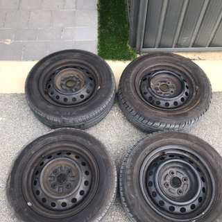 185/65R14 rims and tyres set