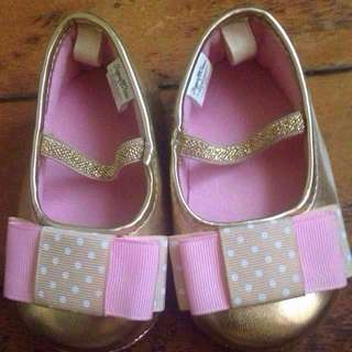 Gold Baby Shoes With Pink Ribbon