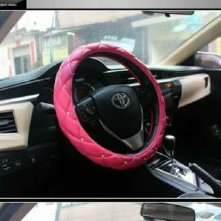 Leather Steering Wheel Cover with Diamond