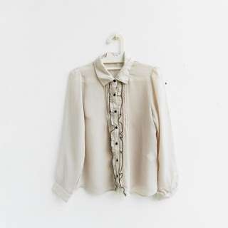 [PRELOVED] creme ruffle blouse