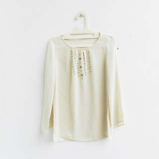 [PRELOVED] simple cream blouse with payet