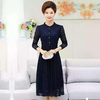 2XL Navy Long Sleeve Dress