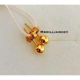 Plain round earstuds  916 Gold by Mbrilliance