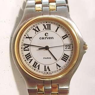 中古70年代 法國品牌 卡紛 Carven Paris Quartz Watch 電子腕錶:   100%原裝瑞士制造法國名牌,白瓷色錶面,精鋼錶殼連錶帶,全長170mm(可以加長5mm) ,直徑:31mm X 37mm (八成新),剛換新電池,運作正常。