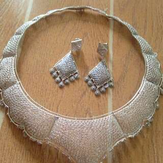 Set Of Filigree Necklace And Earrings