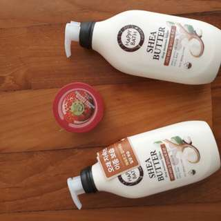 2 x Shea butter Body lotion + Body shop strawberry body butter