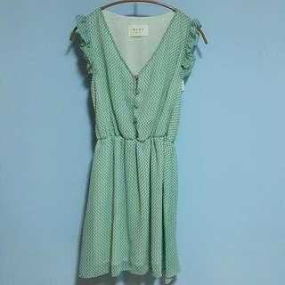 🚚 韓 湖水綠縮腰無袖洋裝 #十月女裝半價