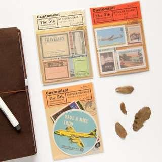 🔥 Planner Stickers — MIDORI TRAVELLER'S / Antique Stamps / Retro