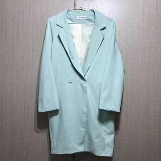 古著/清爽薄荷綠復古長版寬鬆包布釦設計西裝外套