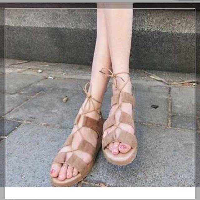 羅馬平底綁帶鞋#我有涼鞋要賣