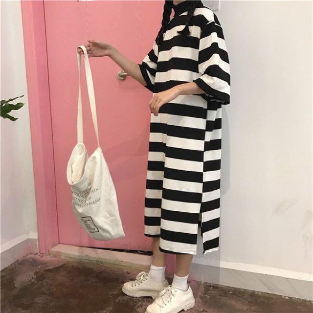 圓領💓黑白條紋🔥洋裝長裙連身裙寬鬆 有開叉