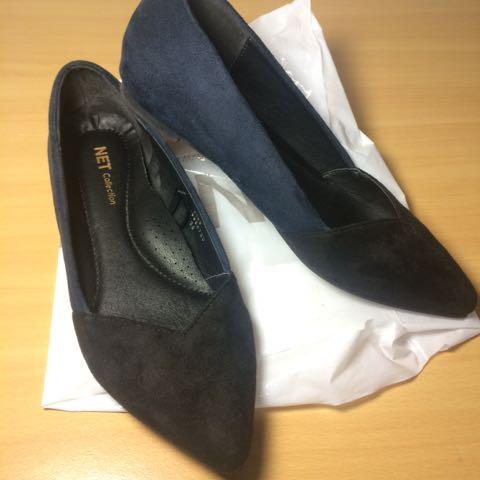 麂皮 尖頭平底鞋 36號 二手 (黑色+深藍色)