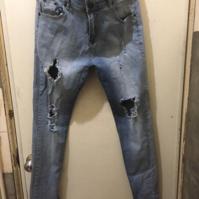「寄賣」大破壞 側拉鍊 牛仔褲
