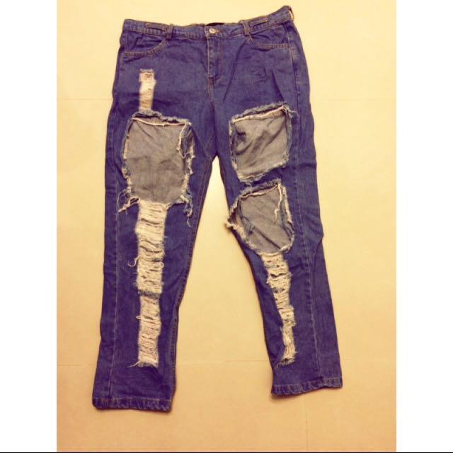 寬鬆破壞吊帶牛仔褲 古著 vintage 實穿照
