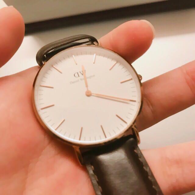 誠可議 Dw 手錶 深棕 金框 36mm