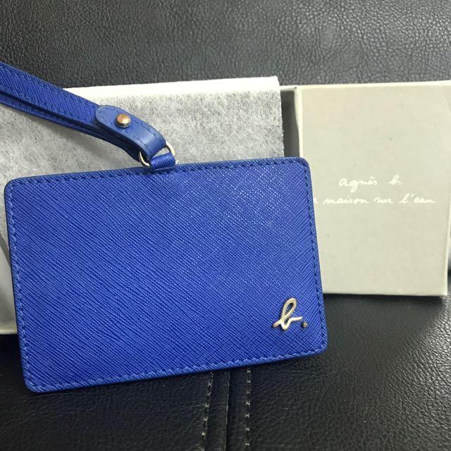 agnes' b寶藍防刮皮革識別證卡夾