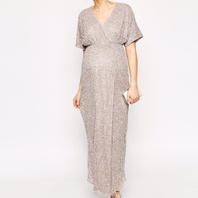 962b87c334 ASOS Maternity Kimono Maxi Dress in Sequin UK10