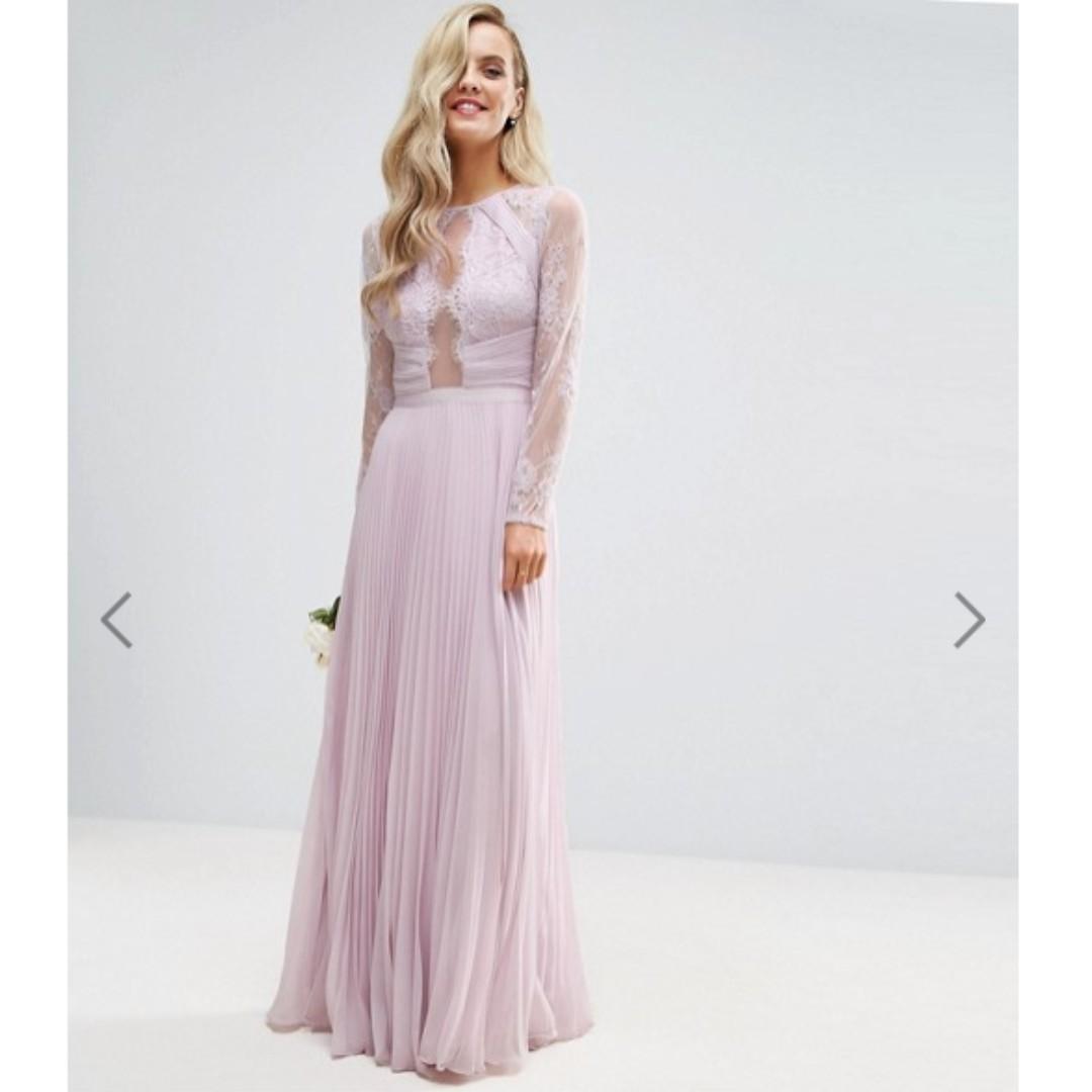 fdf12b60e648 ASOS PETITE WEDDING Pretty Lace Eyelash Pleated Maxi Dress in Lilac ...