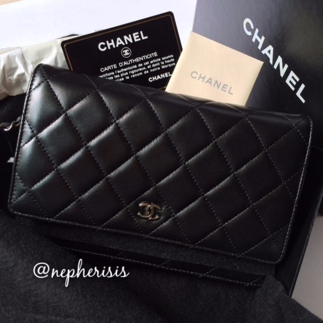 3e8e548049e1 AUTH BNIB Chanel Classic Quilted WALLET ON CHAIN or WOC Black ...