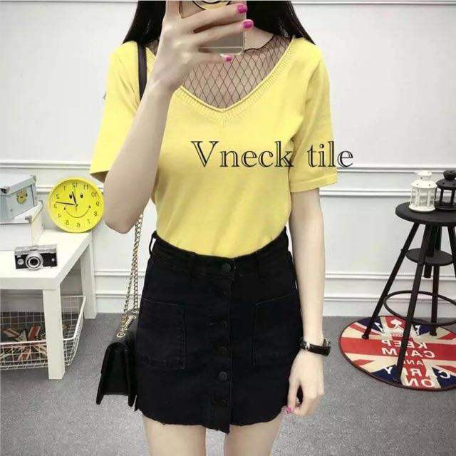 Baju Fishnet Yellow