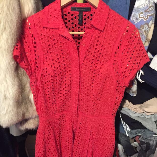 BCBG Red Button Up Dress