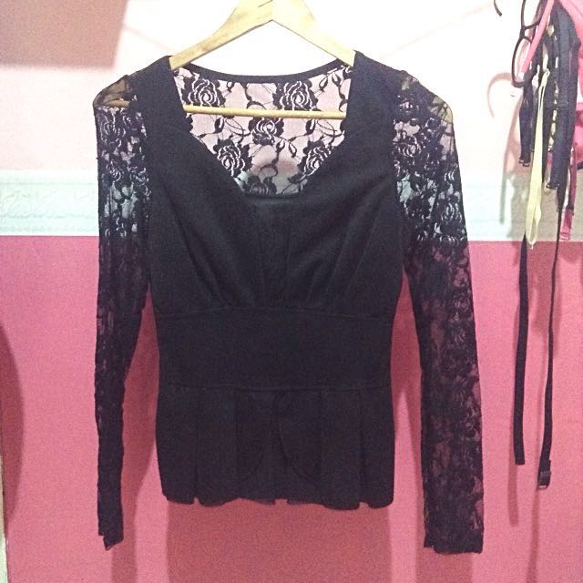 Black Brukat Blouse