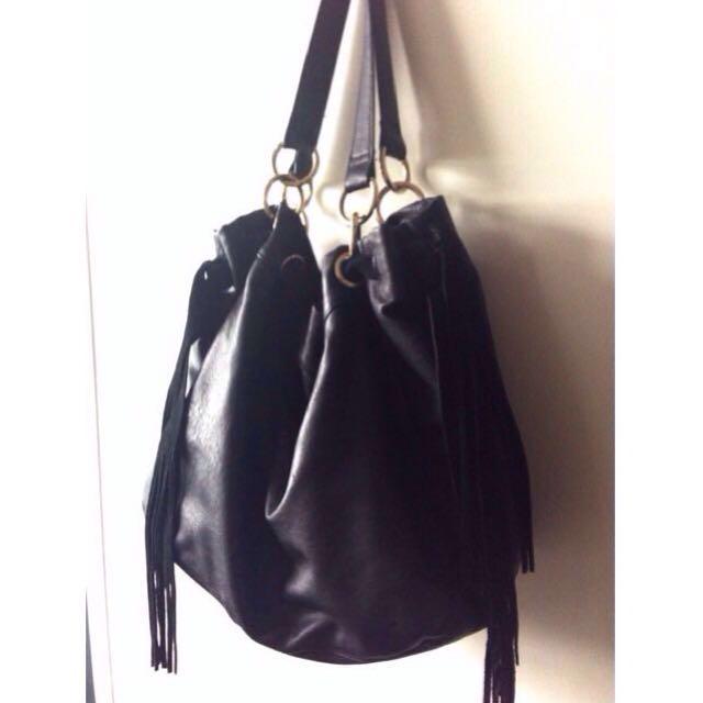 Black leather Fringed Boho Bag