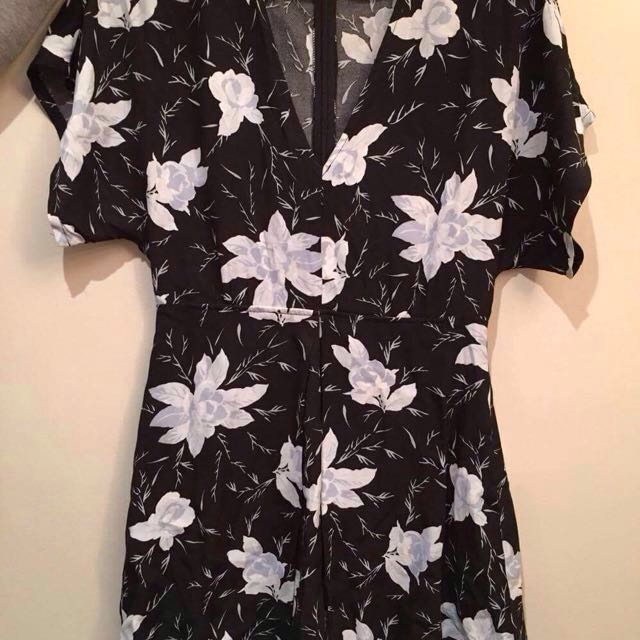 Black playsuit with blue flowers