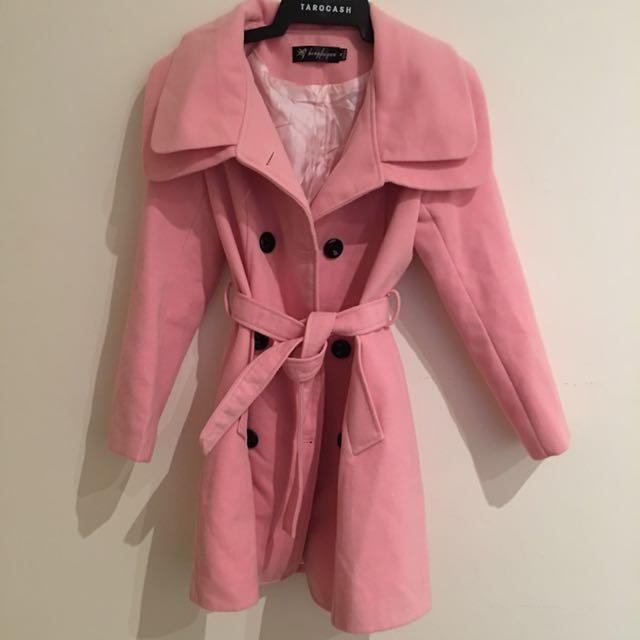 Blush Pink Winter Coat With Belt