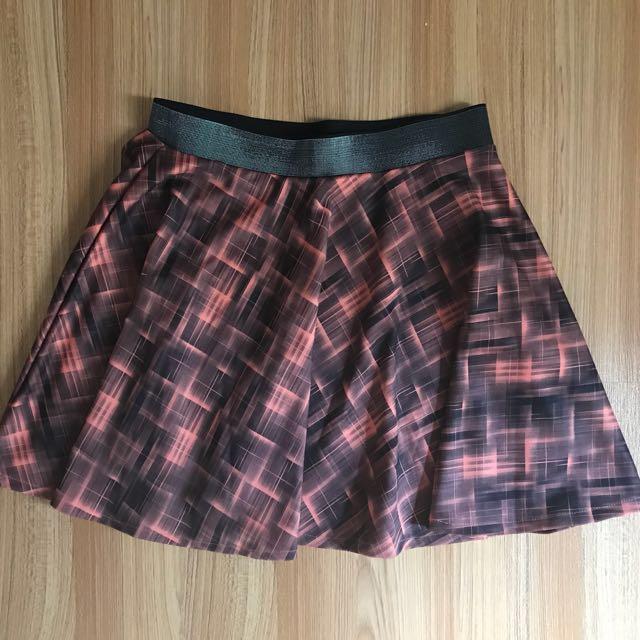Checkered Orange Skirt