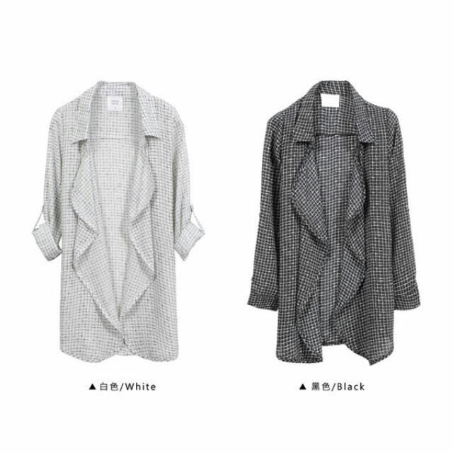 -Dan小舖- 降🎉 小線格 小格紋 波浪翻領雪紡外套 襯衫 白色 東京著衣