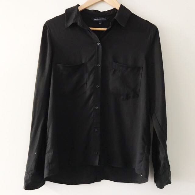 French connection black size 8 button up shirt
