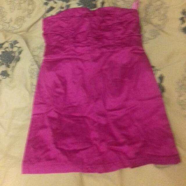 Fuschia Pink Strapless Dress.