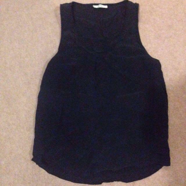 Grana black 100% silk tank singlet  small sz8-10