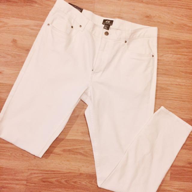 H&M White 'Skinny Fit' Denim Jeans (sz: 34)