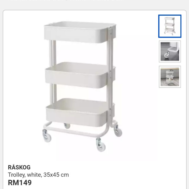 I'm looking for ikea white or black used trolley in below RM80