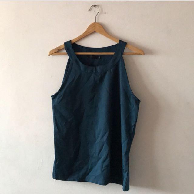 I.MODA湖藍色削肩上衣