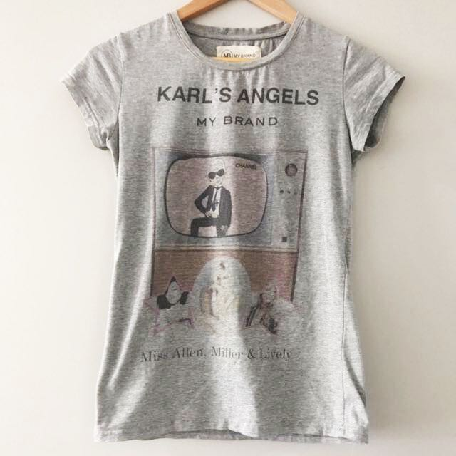 Karl's angels grey printed tee small size