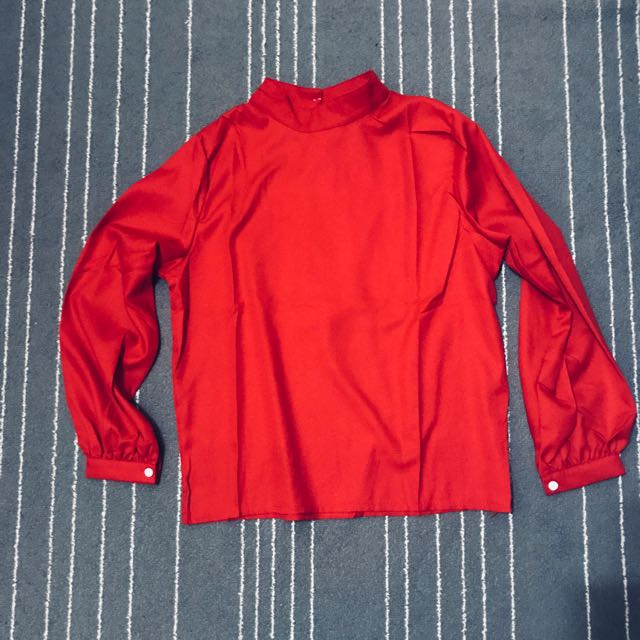 69e1c11fe94596 Korea Style Half Collar Red Blouse, Women's Fashion, Clothes, Tops on  Carousell