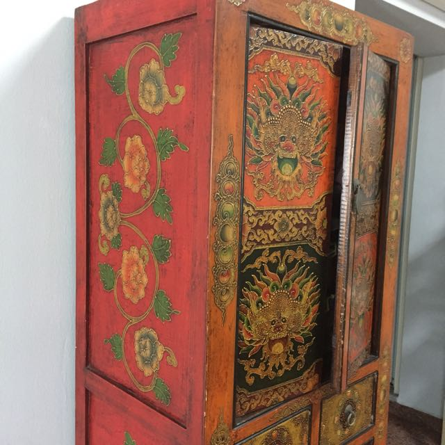 Last Chance !Reduced! Move Out Sale! Tibetan Art Style Furniture Solid Wood  Cabinet With Hand Painted Motifs, Furniture, Shelves U0026 Drawers On Carousell