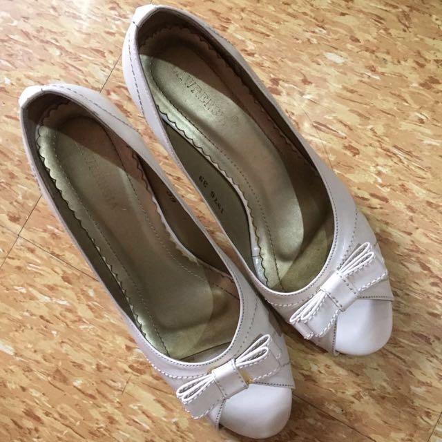 Lawrensia Cream Peep Toe Heels #SSS