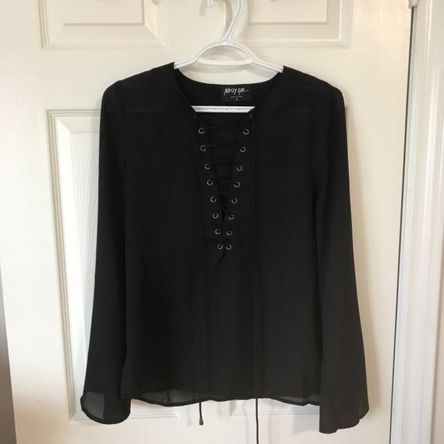 Nasty Gal Lace Up Top With Bell Sleeves