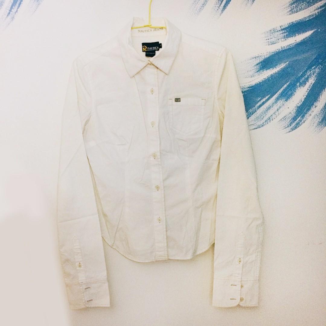NAUTICA JEANS COMPANY 女生 女裝 長袖 純棉 襯衫 白色 素色 百搭 素面 二手 出清