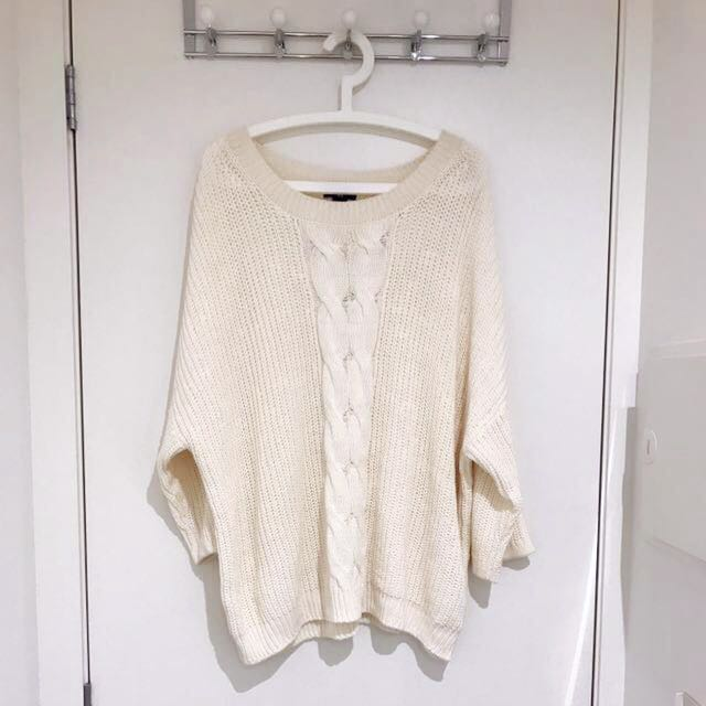 Near-new H&M Comfy Oversized Cream Knitted Jumper/Sweater
